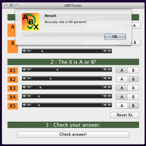 Each ABX round generates a percentage result.