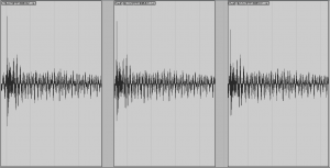 A waveform unfiltered, LPF @ 16kHz, and LPF @ 12kHz, showing 1.9dBFS difference in peak amplitude