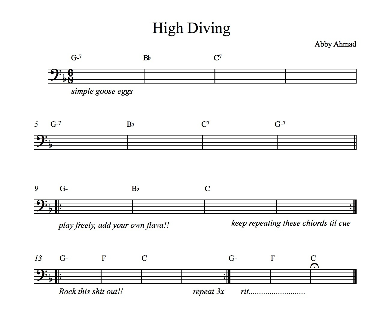 High Diving by Abby Ahmad Chart