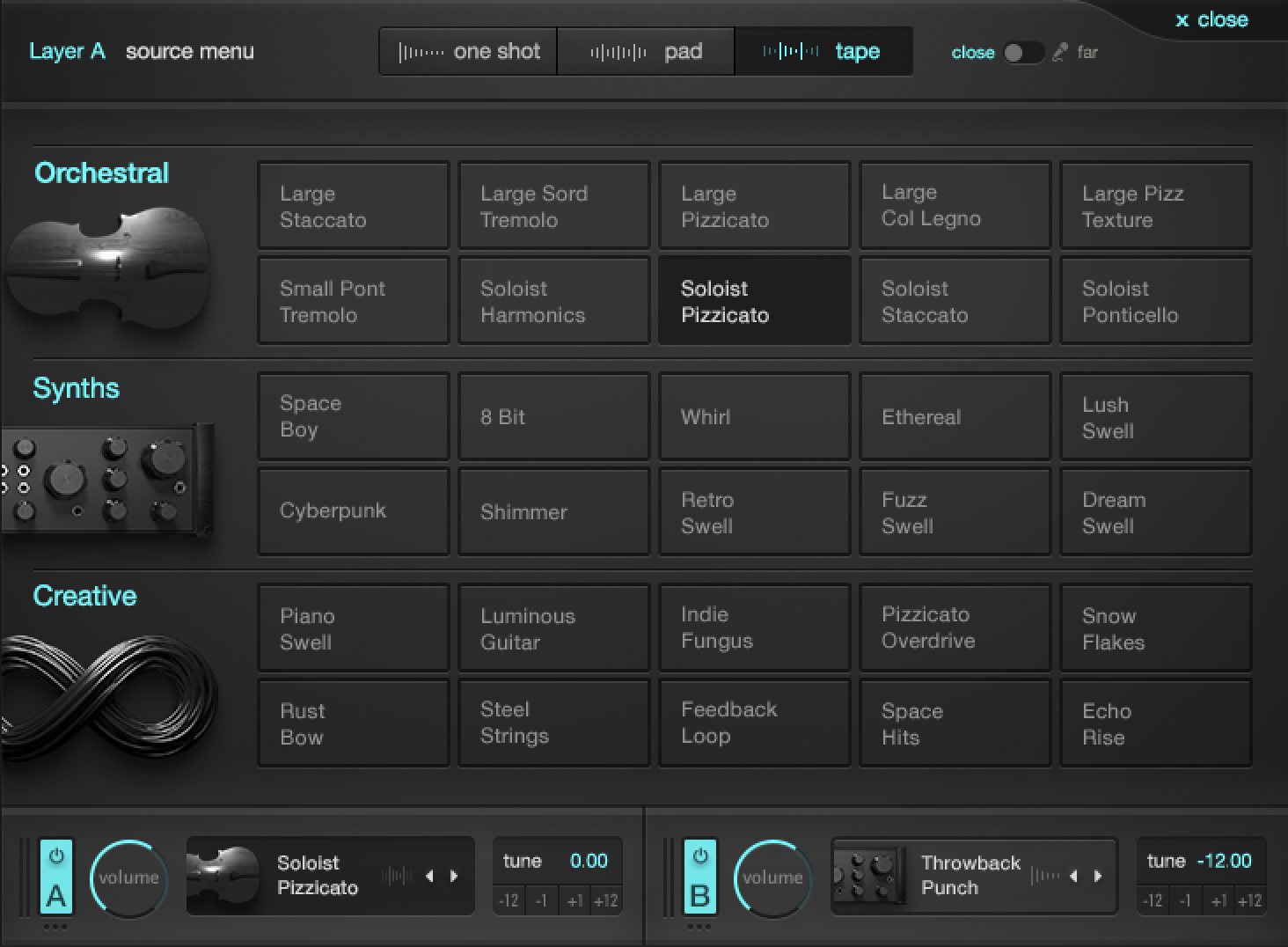 Output Analog Strings Review Pro Audio Files Electronic Selector For 8 Sources Selectors Reveals A Matrix Of Possible Organized Into Three Main Groups One Shots Pads And Tape Loops From Each Group You Can Choose
