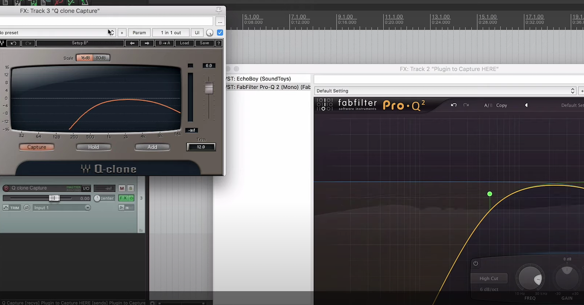 Waves Q-Clone and Fabfilter Pro Q-2 are open in Reaper.