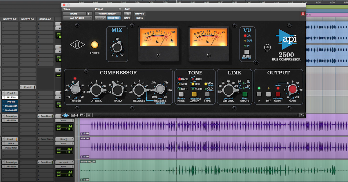 The Universal Audio API 2500 Bus Compressor plugin in Pro Tools.