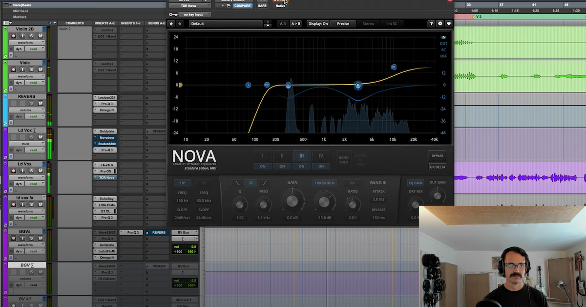Danny Echevarria works with the TDR Nova plugin in Pro Tools.