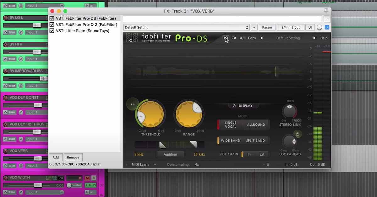 The Fabfilter Pro-DS plugin in Reaper.
