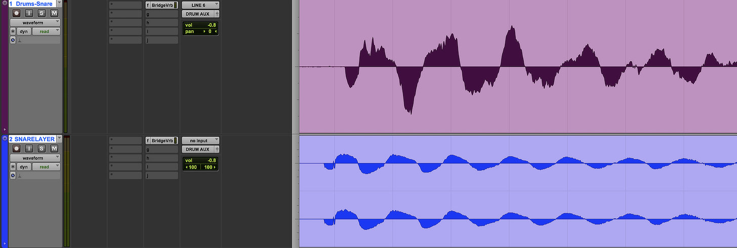 "A layered snare (in blue) that was printed before the original snare. This will result in a ""flammy"" sound."