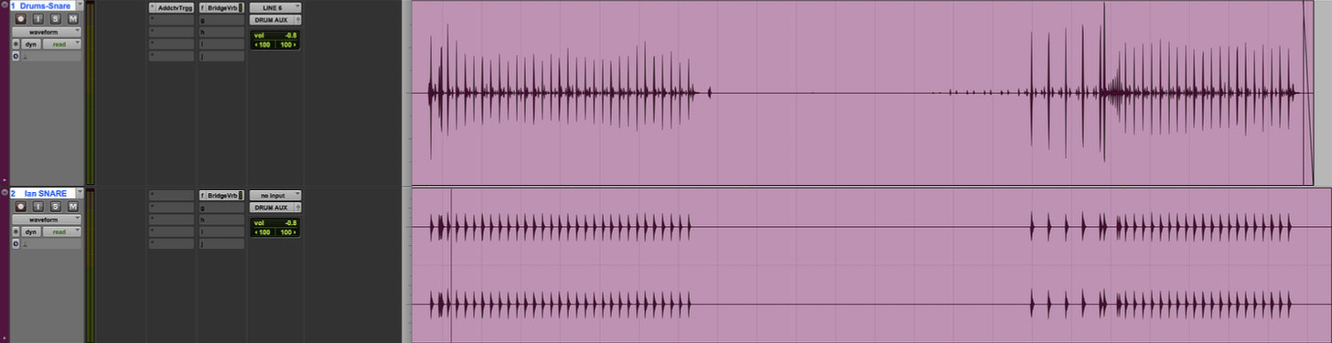 The snare is now rendered to an audio clip and can be mixed with whatever processing you desire.