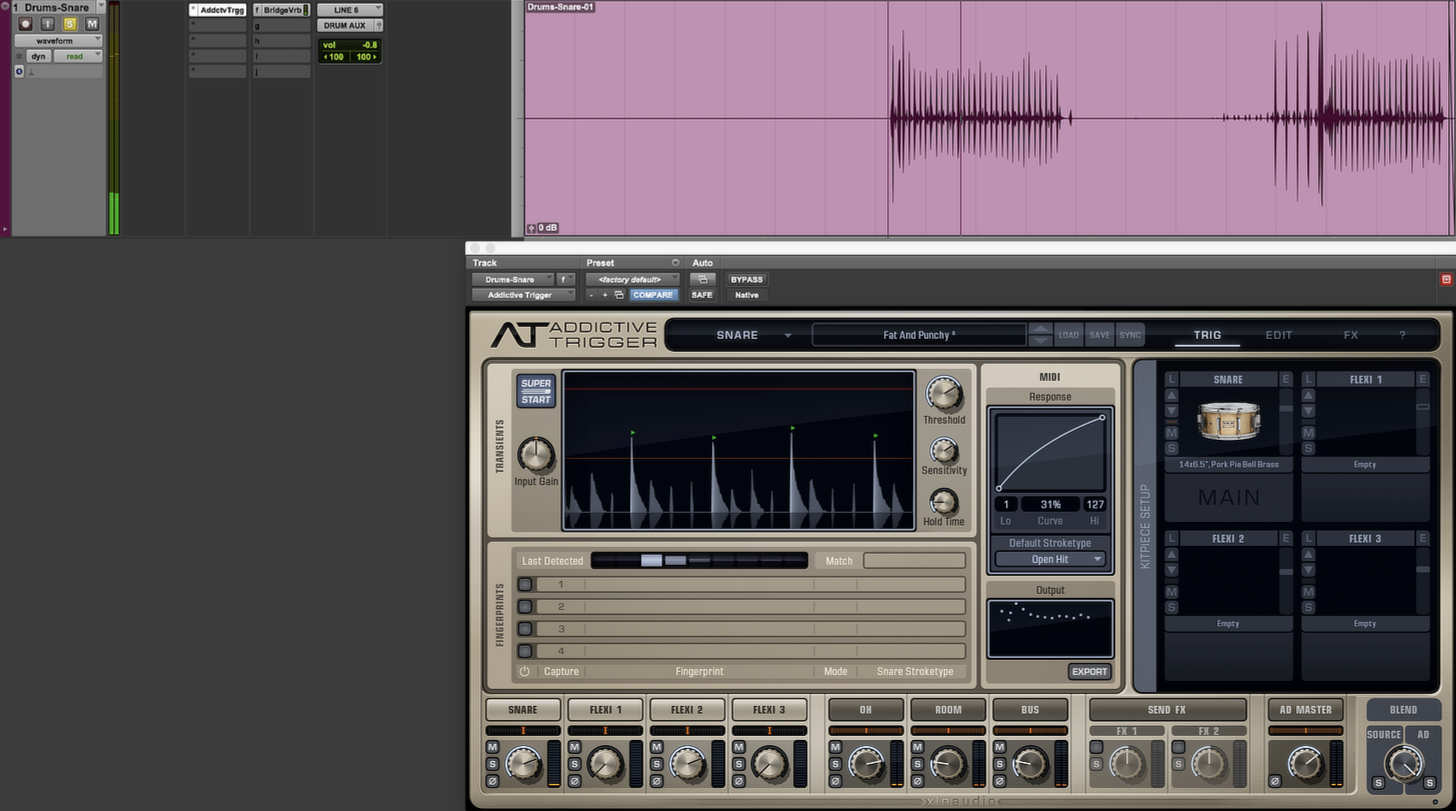 Using Addictive Trigger to augment a snare recording.